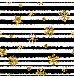 a gold snowflake pattern stripe christmas vector image
