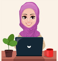 Arabic business woman working on a laptop vector