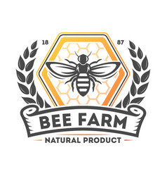 Bee farm vintage isolated label vector