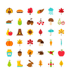 big set thanksgiving day objects vector image