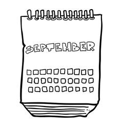 Black and white freehand drawn cartoon calendar vector