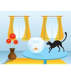 black cat hunting goldfish vector image