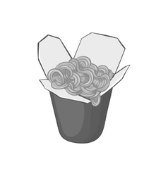 Box of noodles icon black monochrome style vector