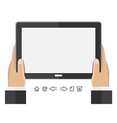 Business hand holding tablet vector
