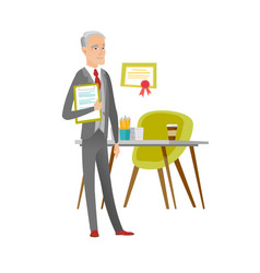 Businessman holding clipboard with documents vector