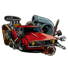 car with tools and components vector image