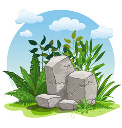 Cartoon stones against white background vector