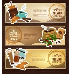 Coffee Vintage Flat Banners Set Brown vector
