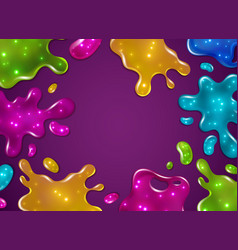 color slime background glossy sticky yellow vector image