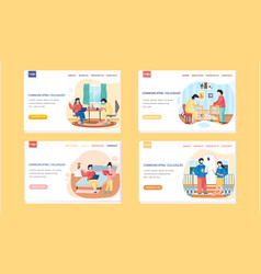 Communicating colleagues landing page template vector