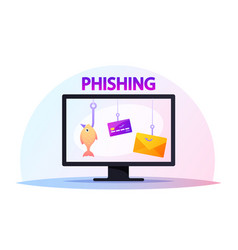 computer monitor with credit cards hanging on vector image