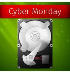 Cyber Monday Sale poster opened hard drive disk vector