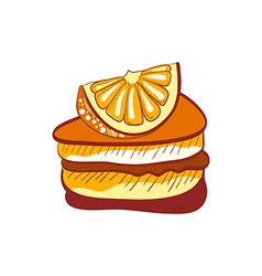 Doodle orange cake slice vector