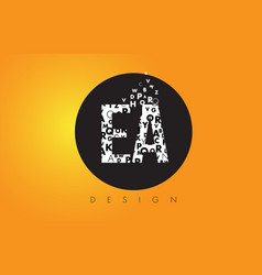 Ea e a logo made of small letters with black vector