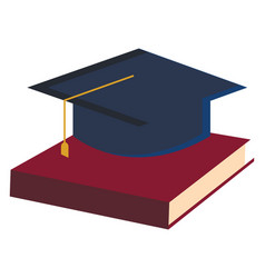 Education with book and graduation hat or color vector