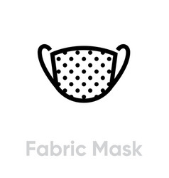 Fabric mask icon editable line vector