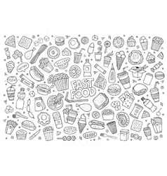 Fast food doodles hand drawn sketchy vector