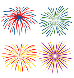 fireworks of different kinds on white background vector image