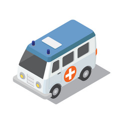 Flat 3d isometric ambulance car for city map vector