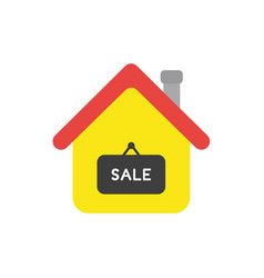 Flat design concept of house with sale word on vector