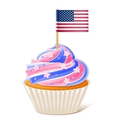 Fourth july american cupcake flag toothpick vector