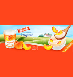 Fruit yogurt with peach advert concept yogurt vector