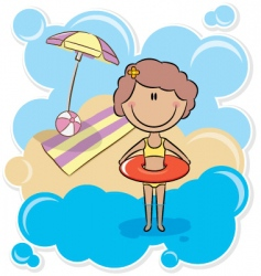 girl with inner tube vector image