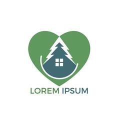 green house heart shape logo design vector image
