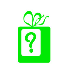 Green present with question mark icon vector