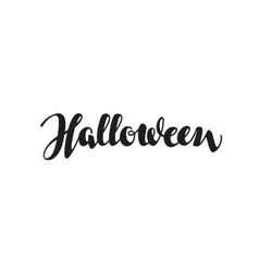 Halloween inscription calligraphy Hand drawn vector