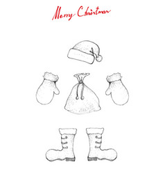 hand drawn sketch of santa clause hat boot bag vector image
