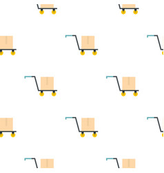 Hand truck with cardboard box pattern flat vector