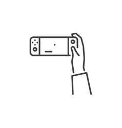 Hand with handheld game console concept vector