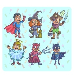 happy halloween of cartoon cute children vector image