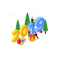 happy new year - modern colorful isometric vector image