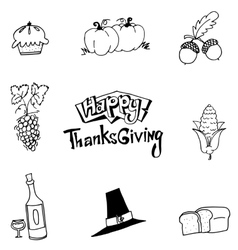 Happy Thanksgiving element party in doodle vector image