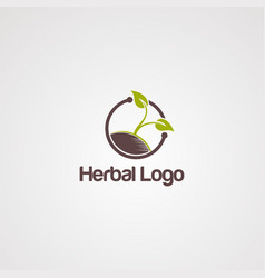 herb green medical logo icon element and vector image