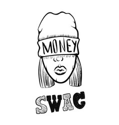 hip hop music girl pretty young urban rap girl vector image