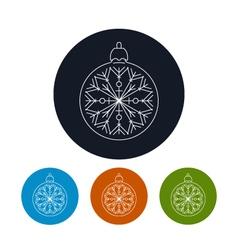 Icon of a Christmas Ball with Snowflake vector image