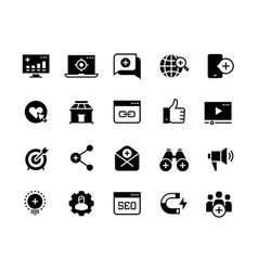 inbound marketing black icons lead social media vector image