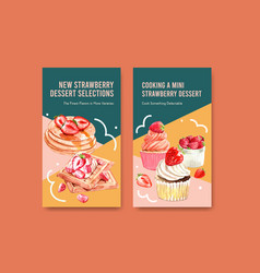 instagram template with strawberry baking design vector image