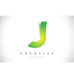 j letter design icon with paper cut design logo vector image
