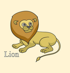 lear the name of african animals inscription lion vector image
