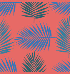 Living coral tropical palm leaves seamless vector