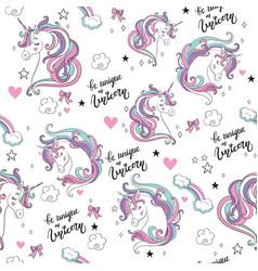 magic seamless pattern with unicorn stars hearts vector image
