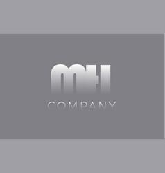 Mh m h pastel blue letter combination logo icon vector