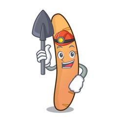 Miner baguette mascot cartoon style vector