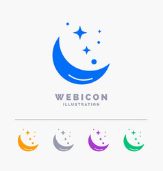 moon night star weather space 5 color glyph web vector image