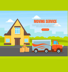 moving service landing page template delivery van vector image