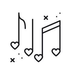 music notes with hearts line icon disco dance vector image